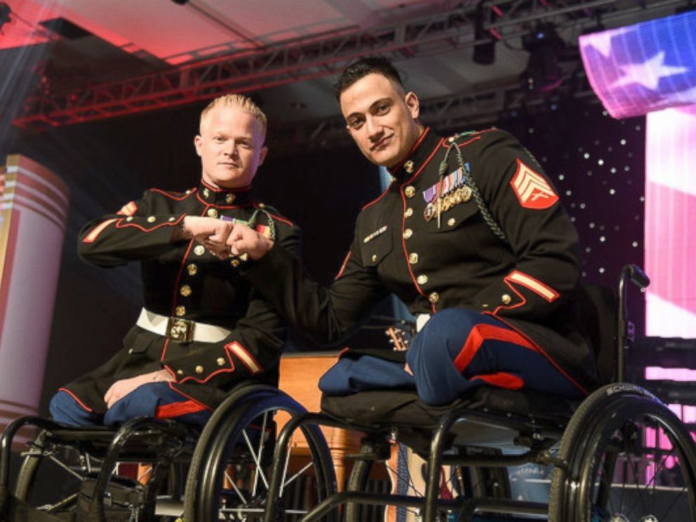 PHOTO: Sgt. Justin Gaertner with best friend Sgt. Gabriel Martinez, both of whom lost their legs fighting in Afghanistan.