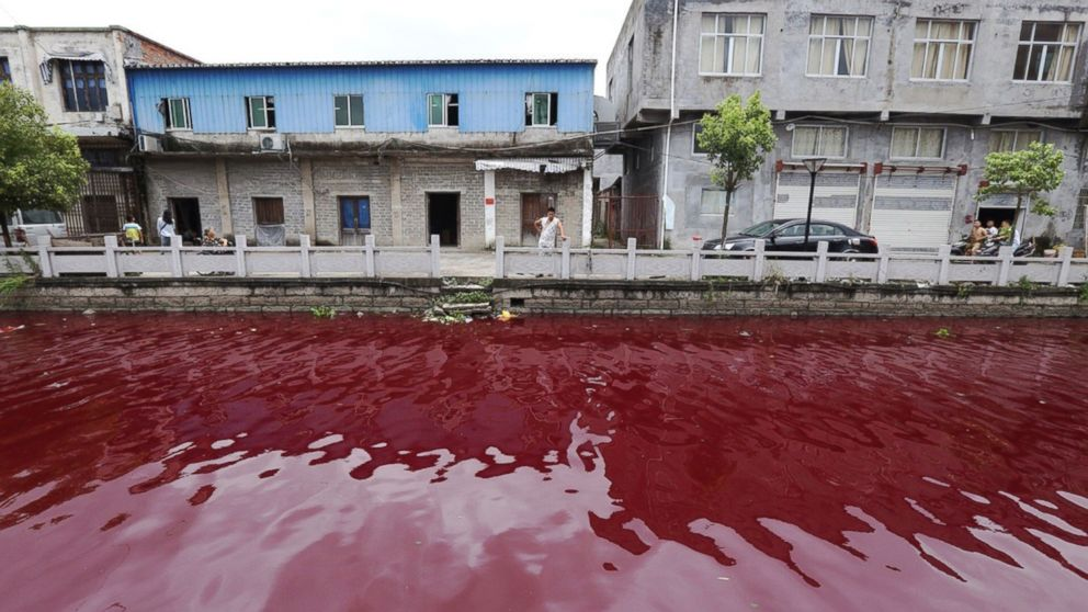 Chinese River Mysteriously Turns Bloody Red Overnight