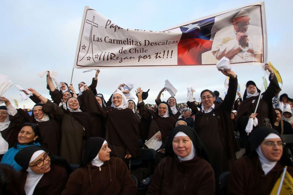PHOTO: Nuns wait for the arrival of Pope Francis at Maquehue airport in Temuco, Chile, where he will celebrate an open-air mass, Jan. 17, 2018.