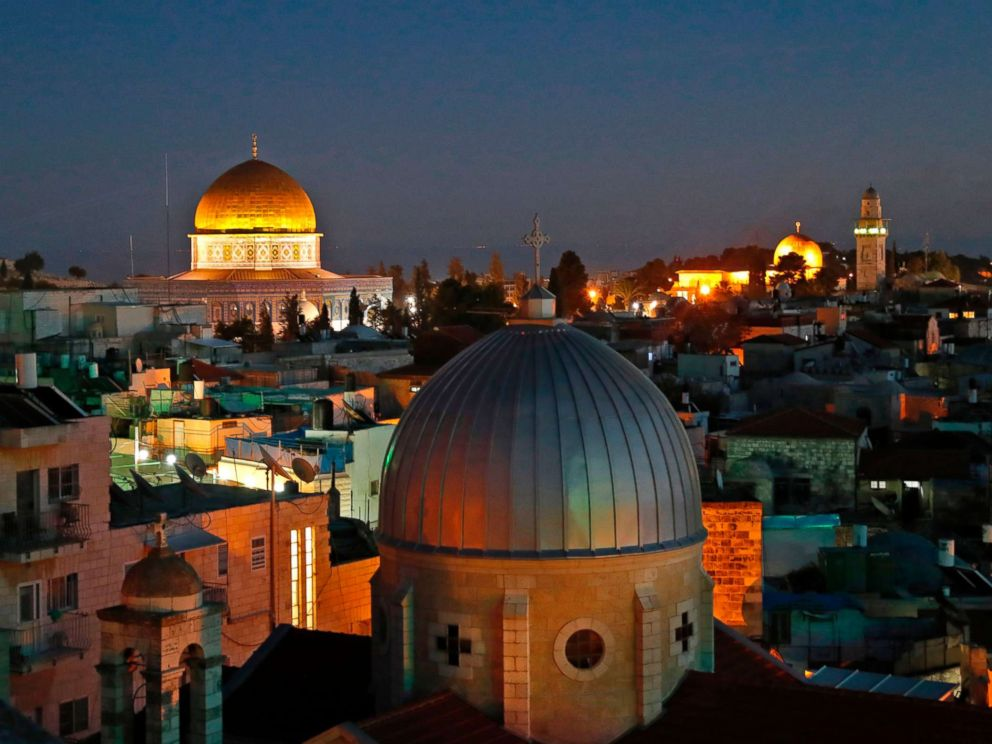 PHOTO: A photo taken on December 4, 2017 shows a general view of the skyline of the Old City of Jerusalem, with the Dome of the Rock in the Aqsa Compund.