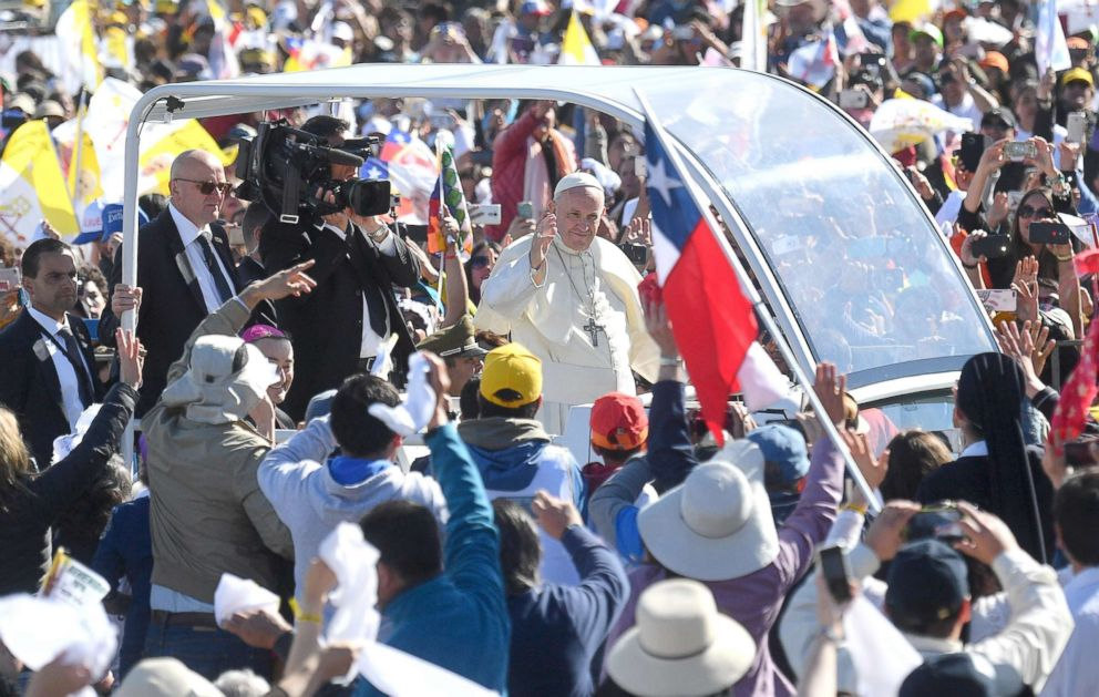 PHOTO: Pope Francis arrives for Holy mass at Maquehue aiport, Maquehue, Chile, Jan. 17, 2018.