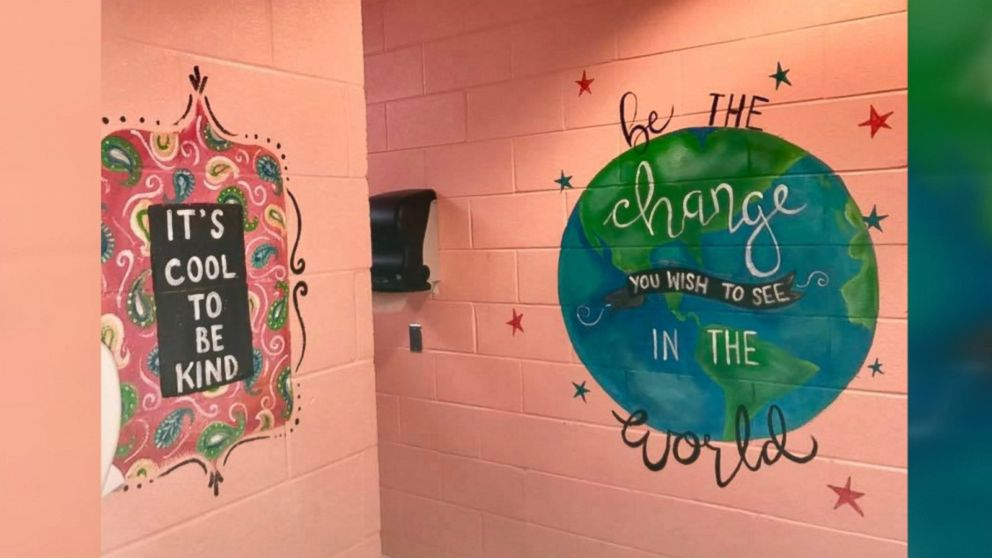 Woman Paints Motivational Murals In Middle School Girls