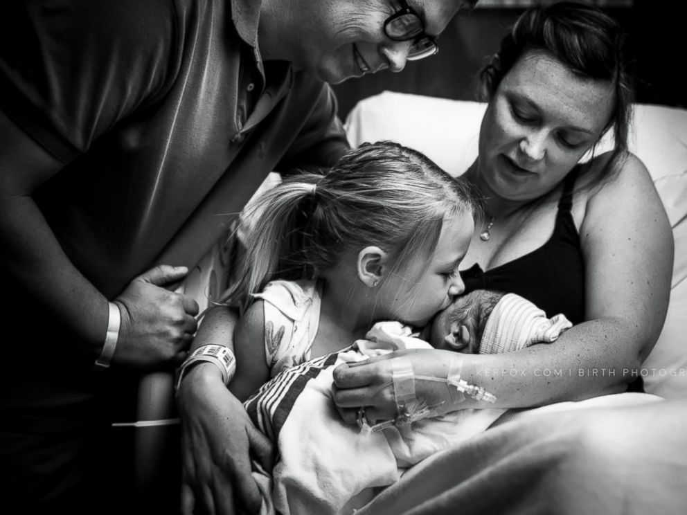 PHOTO: Dara Crouch of Georgia, was candidly photographed during the birth of her son in April as she learned of his sex.