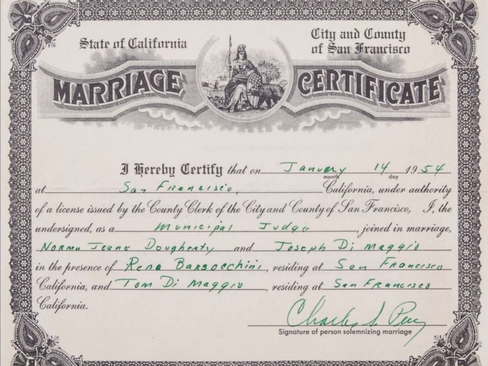 Marilyn Monroe, Joe DiMaggio's 1954 Marriage Certificate