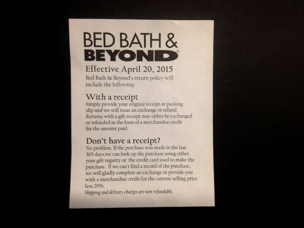Bed Bath Beyond Return Without Receipt