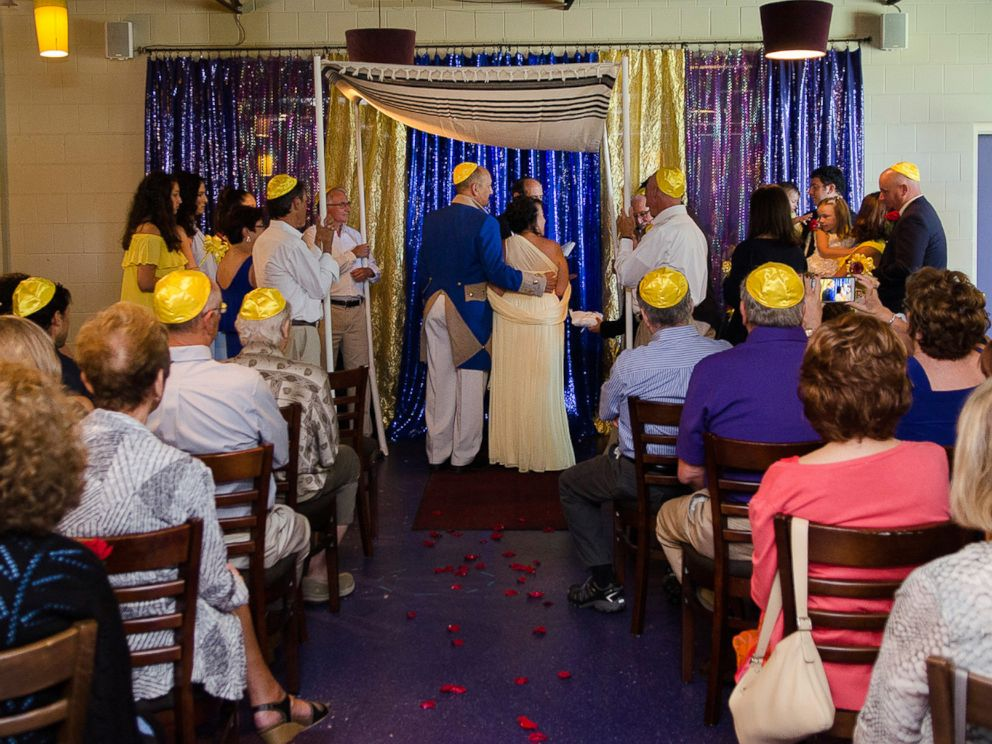 PHOTO: Newlyweds Arlene Sherman and Harvey Goldman had a Beauty and the Beast-themed wedding to make it fun for their grandchildren.