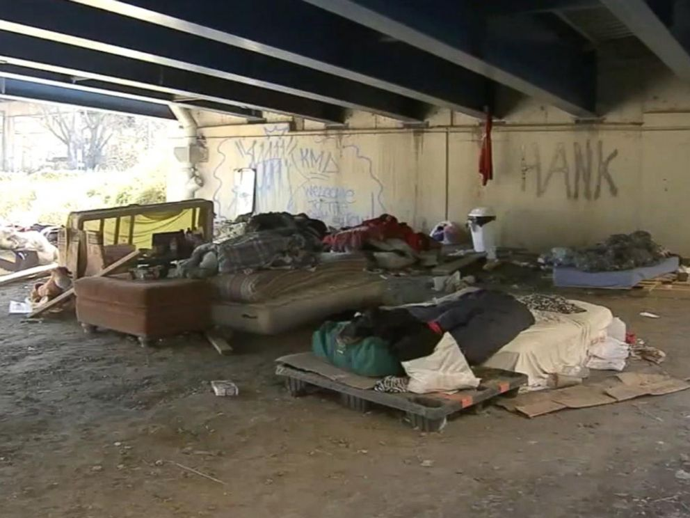 PHOTO: This photo depicts the area under the I-95 exit ramp near Philadelphia, where Johnny Bobbitt and his friends slept.