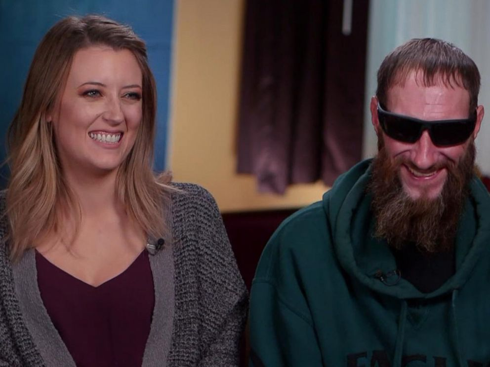 PHOTO: Kate McClure and Johnny Bobbitt reunite for the first time on TV after Bobbitt helped McClure when she broke down two months ago on I-95 exit ramp in Philadelphia.