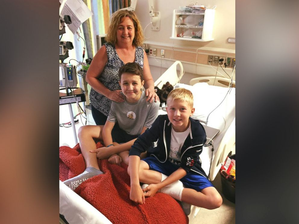 PHOTO: Sulley Menne, 15, seen in an undated photo with his grandmother, Zara Stone and his brother, Jude, 10, at St. Louis Childrens Hospital in St. Louis, Missouri, where he is being treated for a leukemia diagnosis.