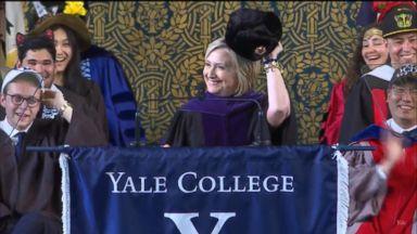 Hillary Clinton pokes fun at Trump, herself in Yale speech