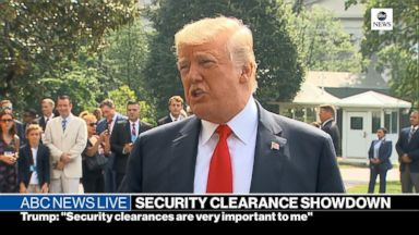 Trump says security clearances are 'very important to me'
