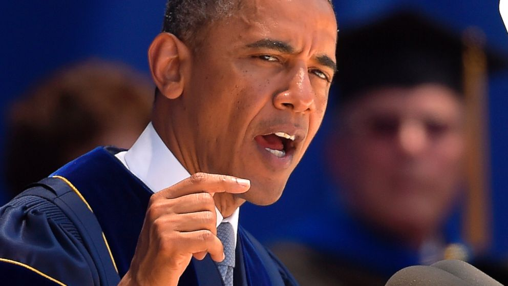 PHOTO: President Barack Obama delivers the commencement address for the University of California, Irvine, Saturday, June 14, 2014, in Anaheim, Calif.