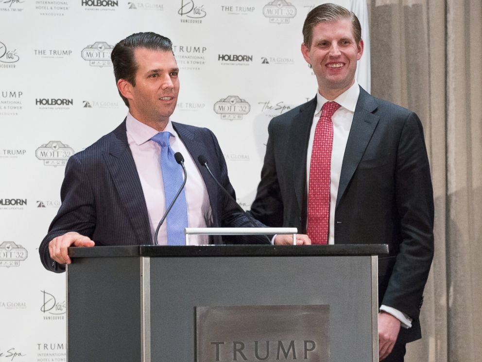 PHOTO: (L-R) Donald Trump Jr. and Eric Trump, Executive Vice Presidents of Development and Acquisition and Development for the Trump Organization, attend the Trump International Hotel And Tower Vancouver Grand Opening, Feb. 28, 2017 in Vancouver.