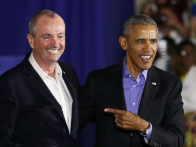PHOTO: Former President Barack Obama campaigns with Democratic candidate for New Jersey Governor Phil Murphy, Oct. 19, 2017 in Newark, N.J.