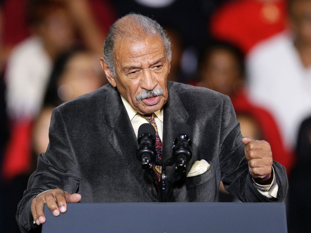 In this Nov. 1, 2014, file photo, Rep. John Conyers, D-Mich., speaks at Wayne State University in Detroit.