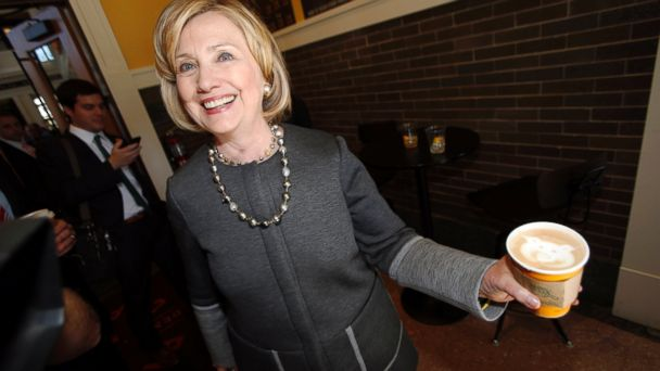 ap hillary clinton latte jc 141014 16x9 608 Hillary Clinton Cracks Herself Up Over Pot Joke