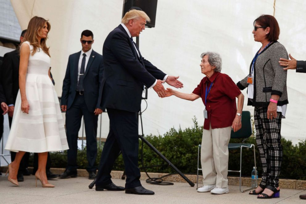 PHOTO: First Lady Melania Trump accompanies President Donald Trump while greeting Holocaust survivor Margot Herschenbaum during a visit to Yad Vashem in Jerusalem, Tuesday, May 23, 2017.
