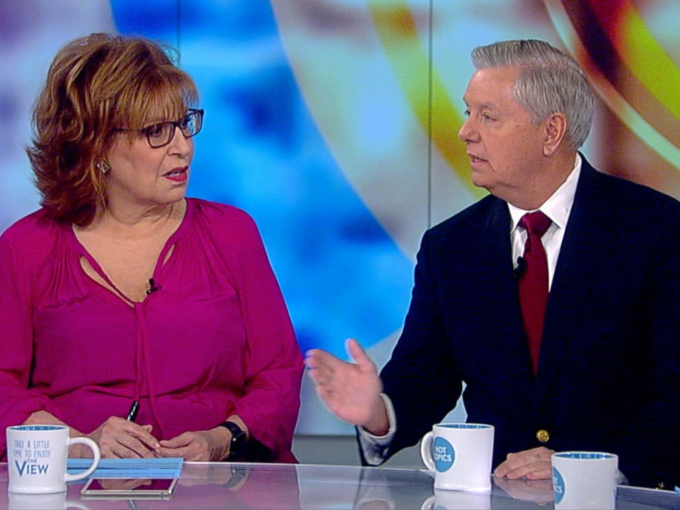 PHOTO: ABC's Joy Behar talks to Senator Lindsey Graham on The View, January 8, 2018.