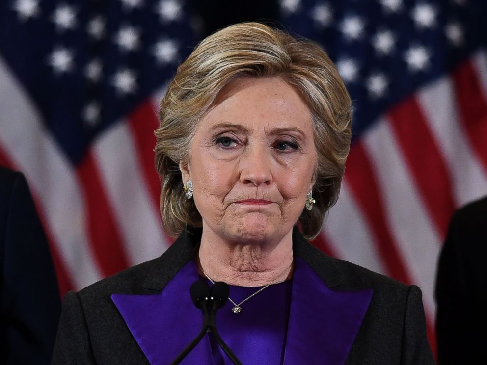 PHOTO: Democratic presidential candidate Hillary Clinton makes a concession speech after being defeated by Republican president-elect Donald Trump in New York on Nove. 9, 2016.