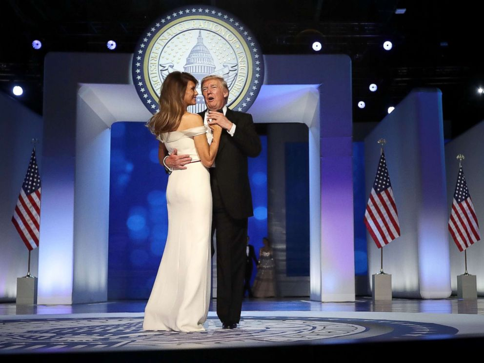 PHOTO: President Donald Trump and First Lady Melania Trump dance during the Freedom Ball at the Washington Convention Center on January 20, 2017 in Washington.