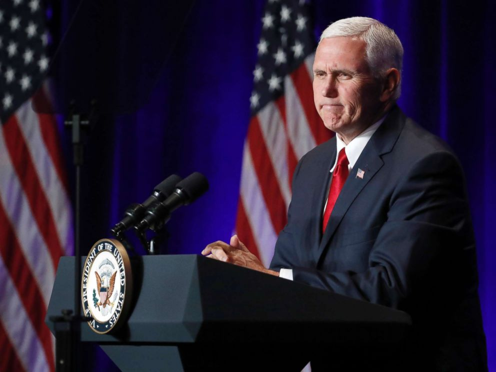 PHOTO: Vice President Mike Pence pauses while speaking at the Young Americas Foundations 39th annual National Conservative Student Conference, Aug. 4, 2017, in Washington.