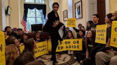 Alexandria Ocasio-Cortez opens freshman orientation by leading protest at Nancy Pelosi's office