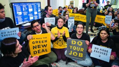 Activists again demand Green New Deal; stage demonstration at Dem leaders' offices