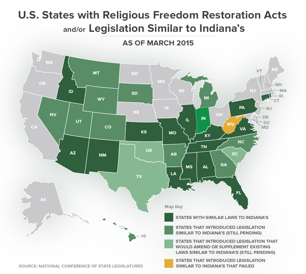 Religious Map Of The Us.U S States With Religious Freedom Restoration Acts And Or