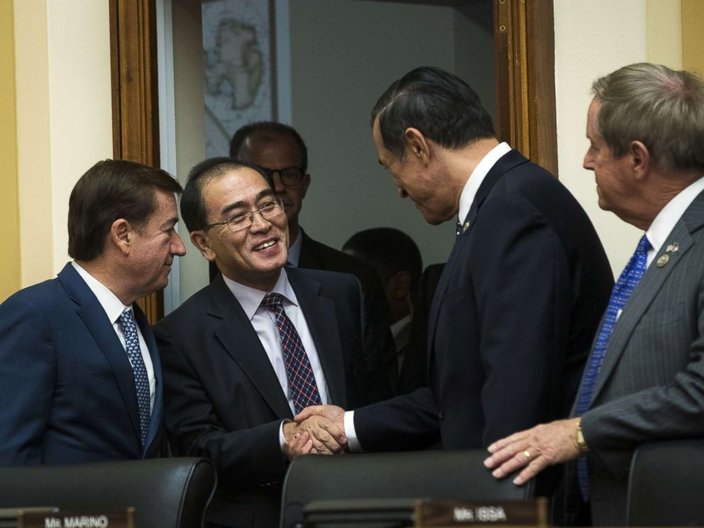 PHOTO: Thae Yong-ho, former chief of mission at the North Korean embbady in the United Kingdom, is greeted by members of congress at the start of a House Foreign Affairs Committee hearing on Capitol Hill, Nov. 1, 2017 in Washington.