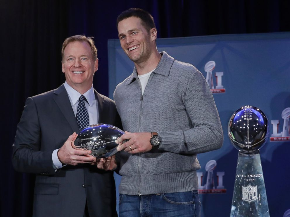 PHOTO: NFL commissioner Roger Goodell and New England Patriots quarterback Tom Brady pose with the MVP trophy during a news conference after the NFL Super Bowl 51 football game, Feb. 6, 2017, in Houston. Brady was named the MVP of Super Bowl 51.