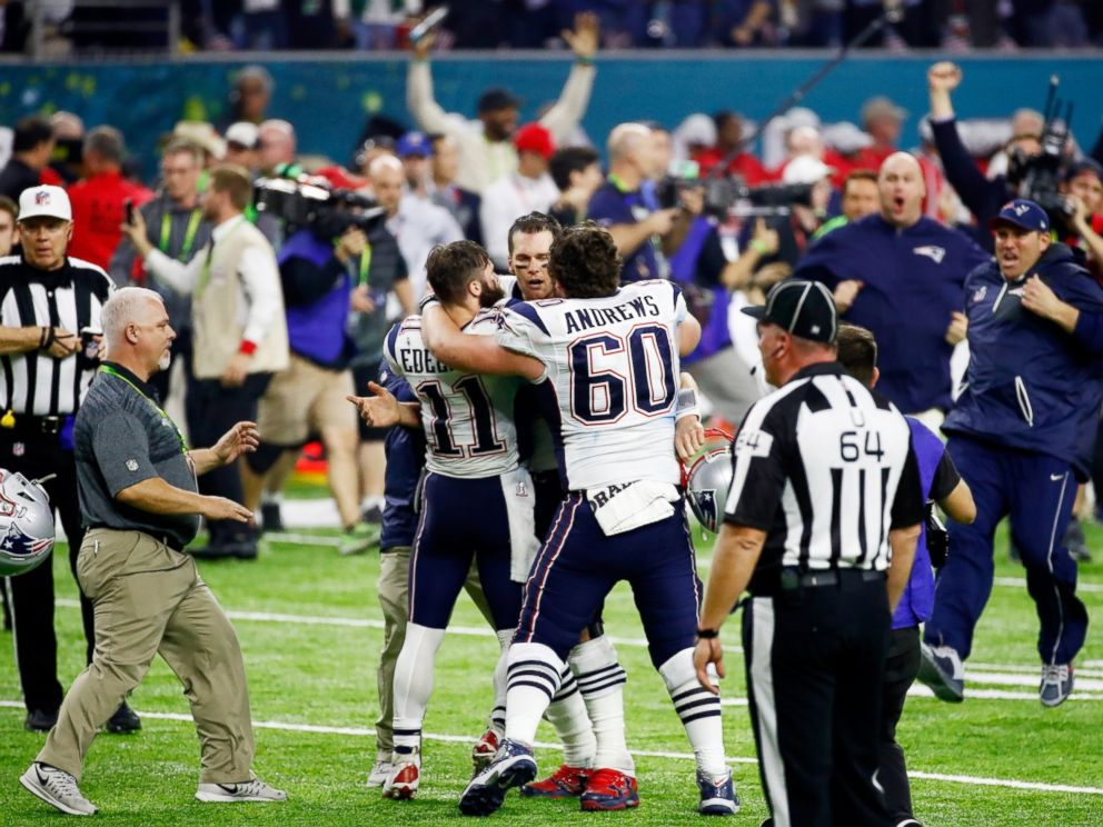 PHOTO: Tom Brady #12 of the New England Patriots reacts after defeating the Atlanta Falcons 34-28 in overtime to win Super Bowl 51 at NRG Stadium, Feb. 5, 2017, in Houston.