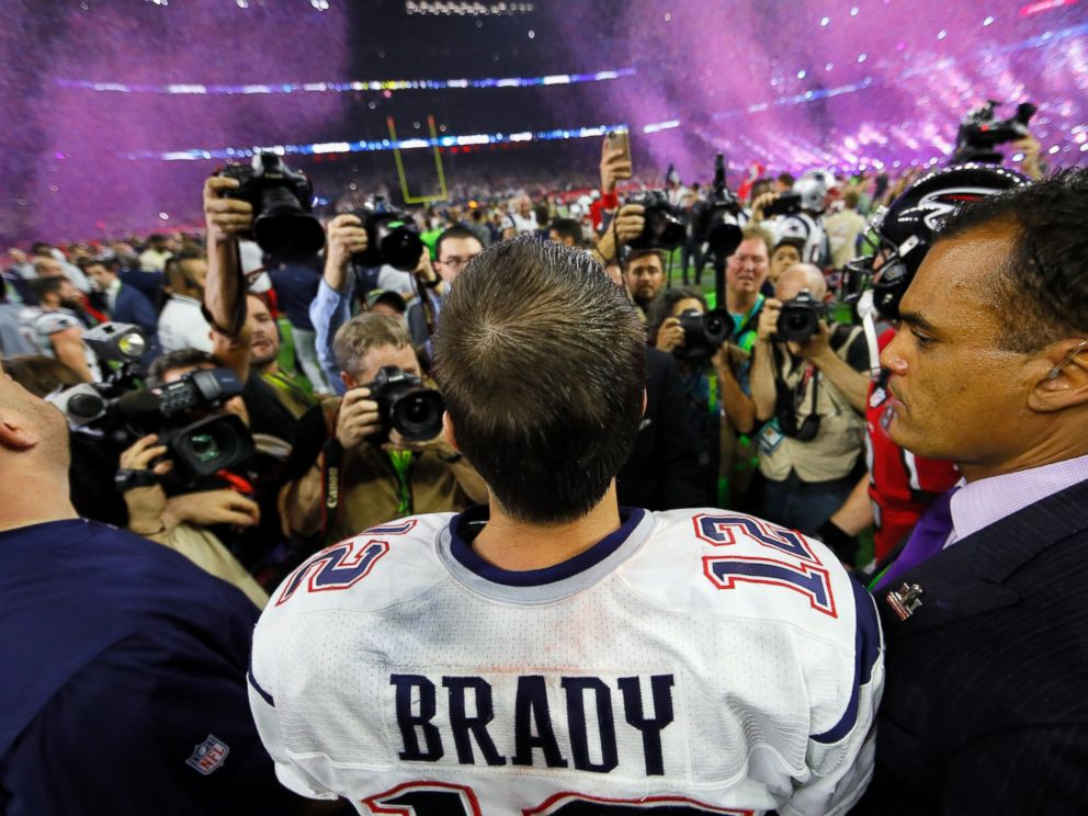 PHOTO: Tom Brady #12 of the New England Patriots celebrates after defeating the Atlanta Falcons during Super Bowl 51 at NRG Stadium, Feb. 5, 2017 in Houston.