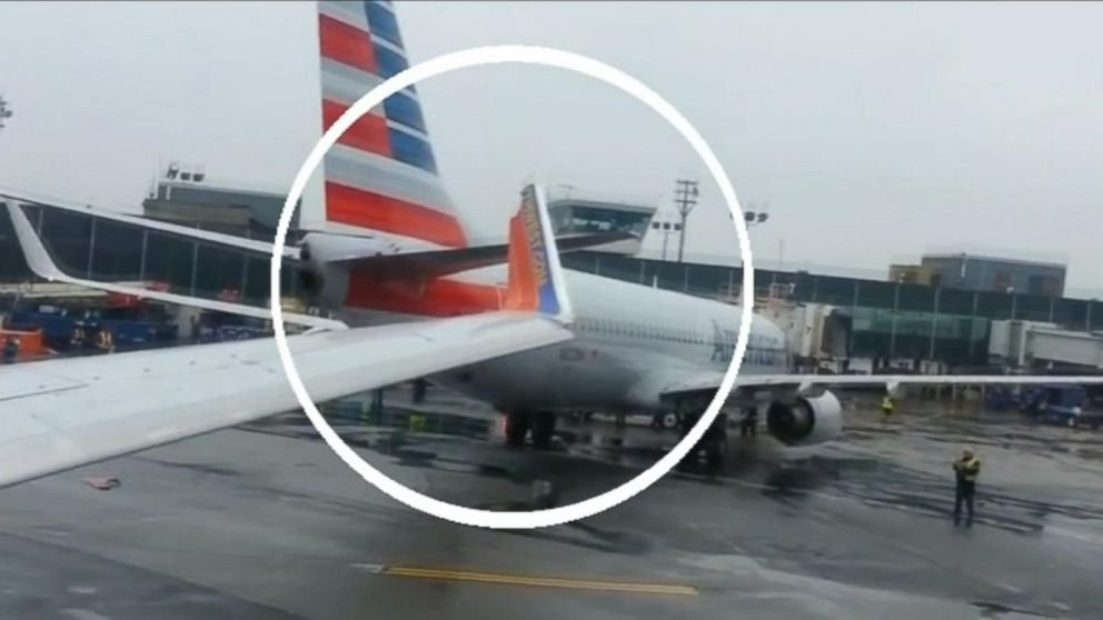 Southwest plane clips wing after colliding with American