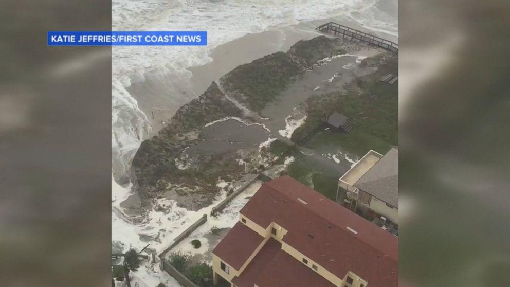 Storm Surge Slams Jacksonville Beach Video Abc News
