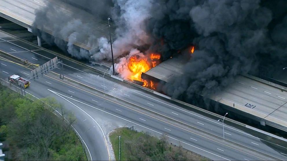 Image result for Massive fire on Atlanta highway causes traffic holdup