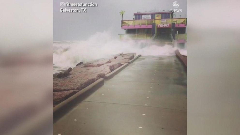 Waves Smash Into Galveston Pier During Hurricane Harvey