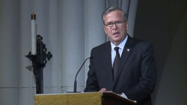 Jeb Bush delivers a eulogy at his mother Barbara Bush's funeral