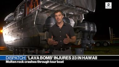 Lava bomb crashes into boat
