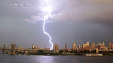 Lightning strikes illuminate New York City skyline