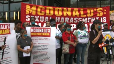 Fast-food workers protest sexual harassment outside of Chicago McDonald's