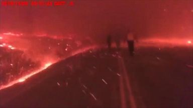 Police officer's bodycam shows dystopian scene at the Camp Fire