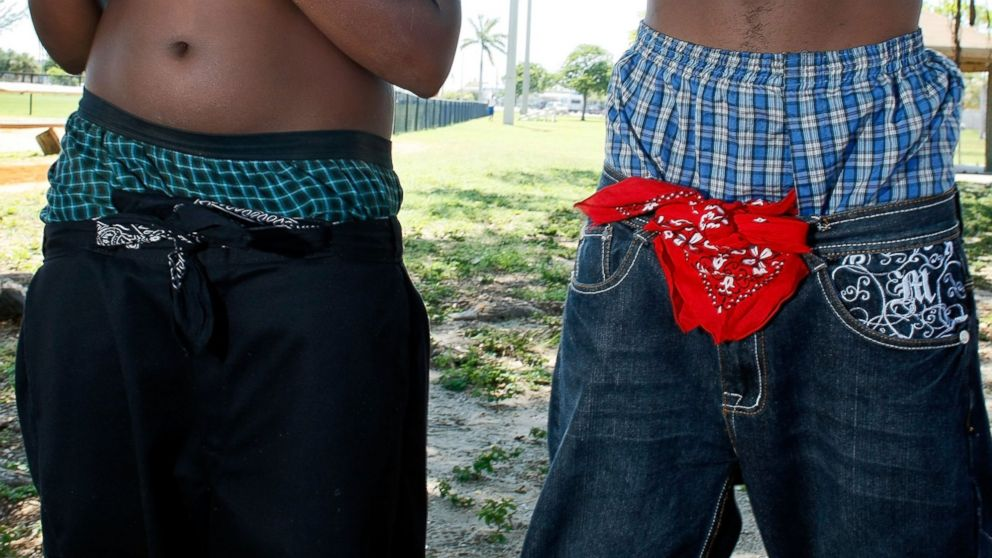 PHOTO: Two youths wear their pants with the underwear showing on April 23, 2009 in Riviera Beach, Fla.
