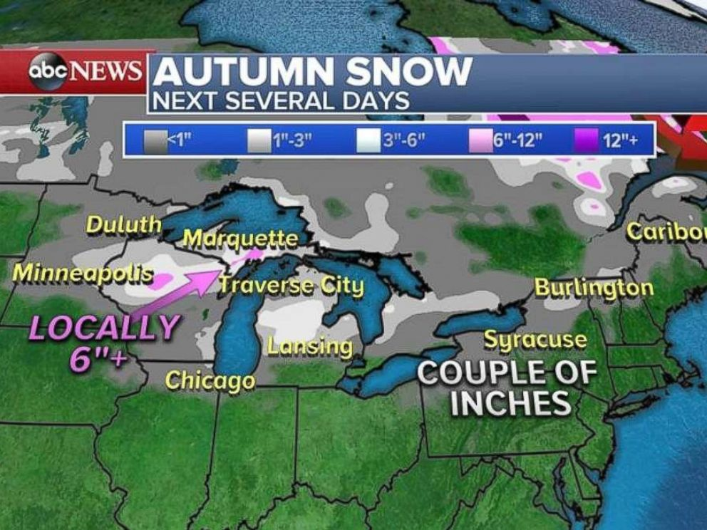 Snowfall around the Great Lakes could reach 6 inches or more in some areas.