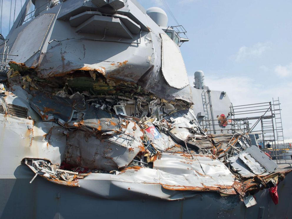 PHOTO: The USS Fitzgerald sits in Dry Dock 4 at Fleet Activities Yokosuka, Japan to continue repairs and assess damage sustained from its June 17, 2017 collision with a merchant vessel.