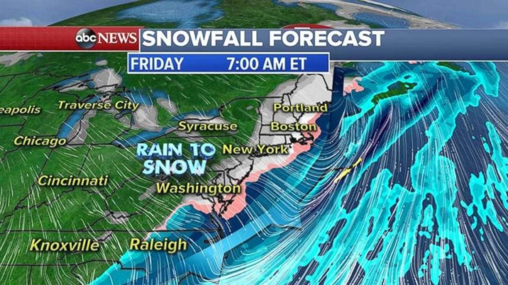 A wintry mix will strike the East Coast this morning.