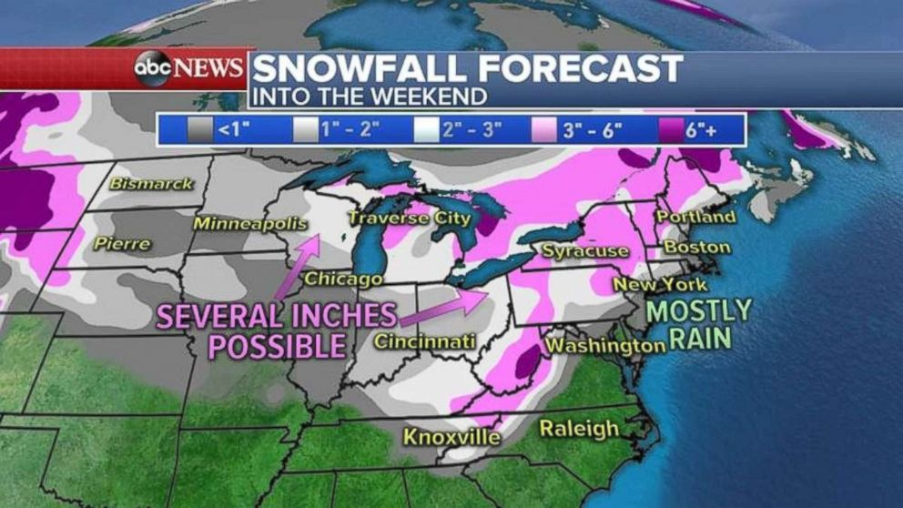 The Northeast and Midwest may get several inches of snow over the weekend.