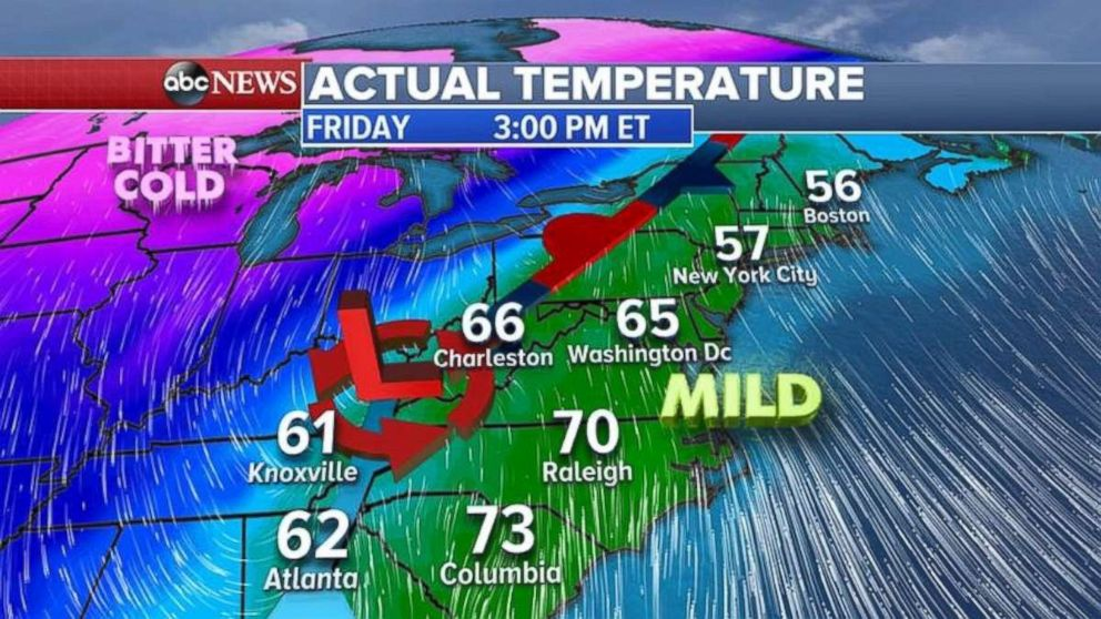 Temperatures on Friday in the Northeast will feel more like spring than winter.