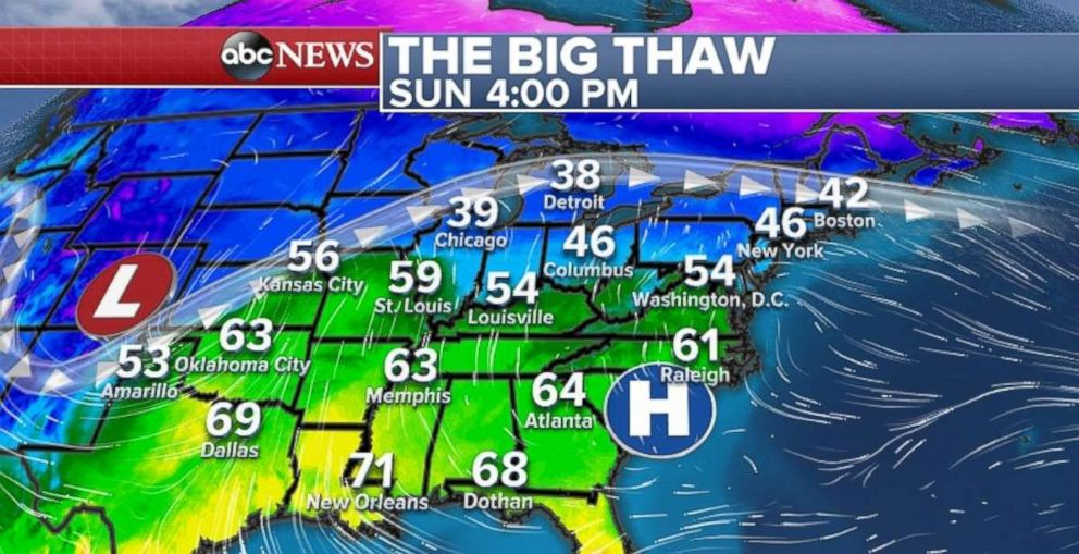 PHOTO: Temperatures in the eastern part of the US UU They will increase on Sunday.