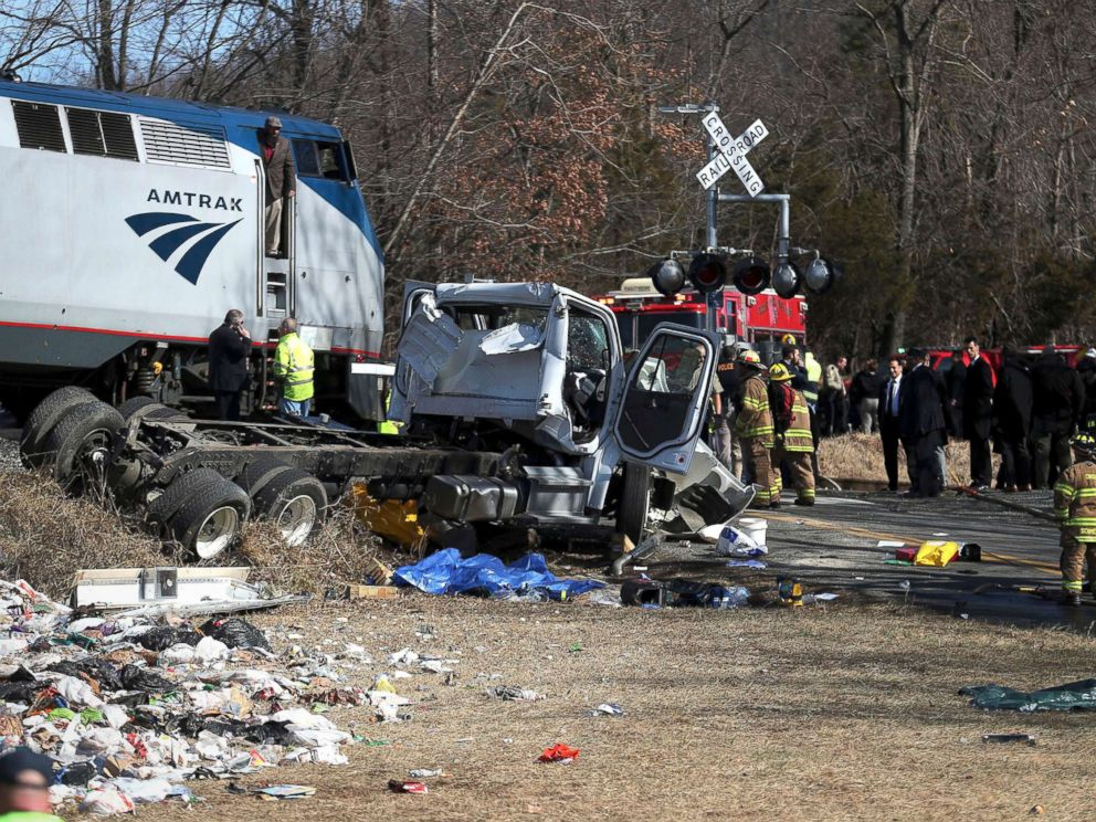 PHOTO: Emergency personnel work at the scene of a train crash involving a garbage truck in Crozet, Va., Jan. 31, 2018. An Amtrak passenger train carrying dozens of GOP lawmakers to a Republican retreat in West Virginia struck the truck.
