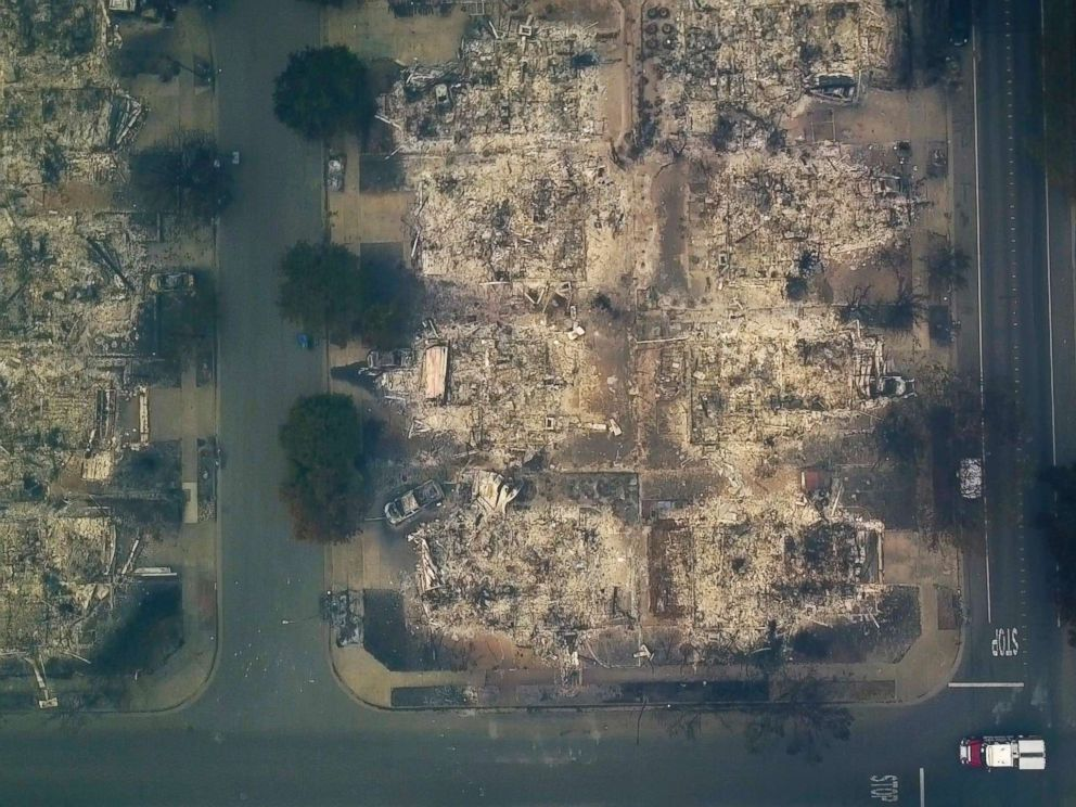 PHOTO: This aerial image shows a neighborhood that was destroyed by a wildfire in Santa Rosa, Calif., Oct. 10, 2017.